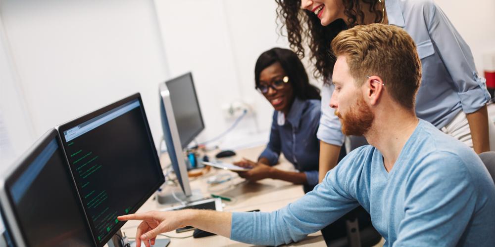 Informatiker betreut Kundin in IT Angelegenheiten